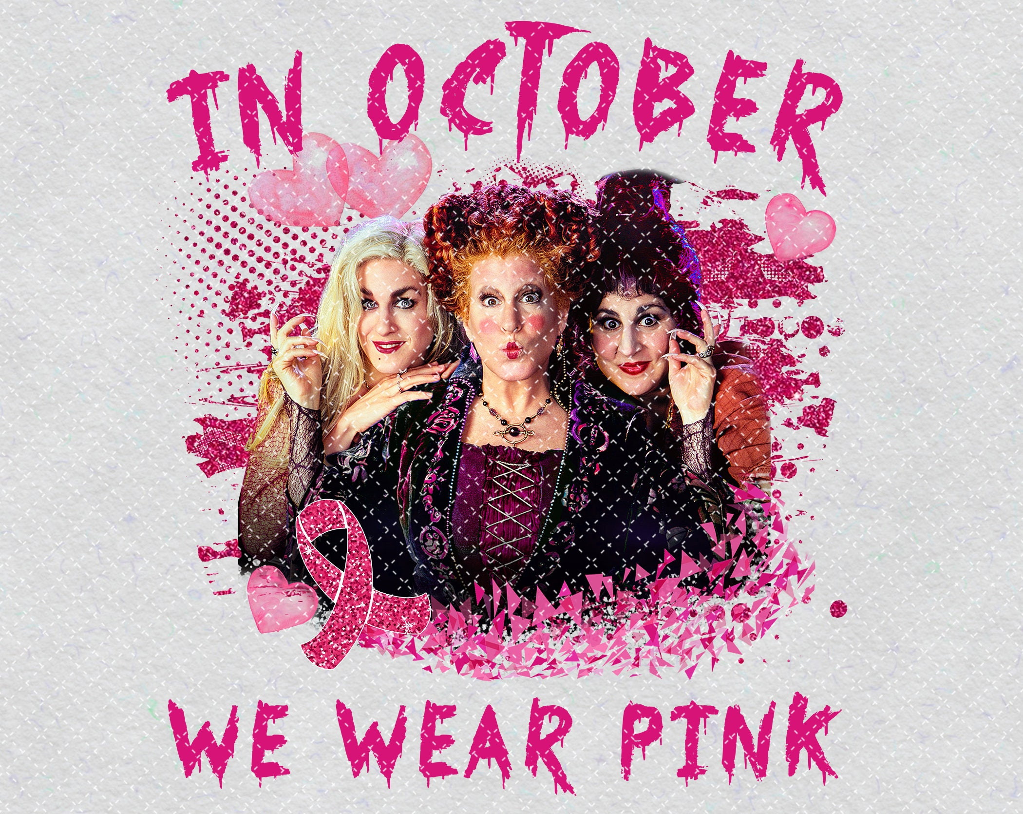 Hocus Pocus In October We Wear Pink PNG Printable, Horror Characters, Happy Halloween, Hocus Pocus Gift, Halloween Gift, SublimationPrinting