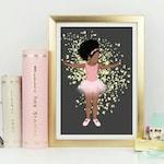 Baby brown ballet PRINT -5x7, 8x6 & 10x8 multicultural Décor. Nursery. Bedroom. Ballerina. Ethnic afro natural hair art - black girl magic