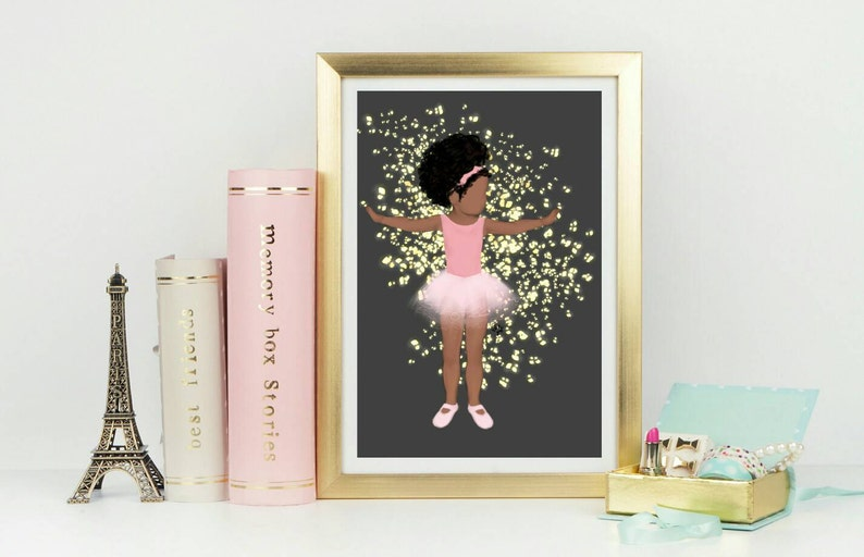 Baby brown ballet PRINT posters multicultural Décor. Nursery. image 0