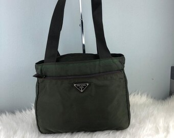 910b1a26b3a63d RARE & COLLECTION Authentic Prada Nylon Dark Green Tote Bag / Prada Bag / Vintage  Prada Bag