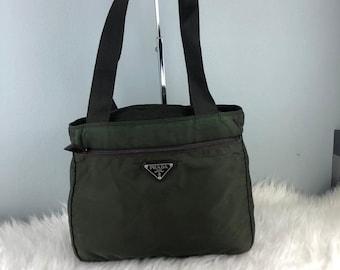 bcd03bb0d54711 RARE & COLLECTION Authentic Prada Nylon Dark Green Tote Bag / Prada Bag /  Vintage Prada Bag
