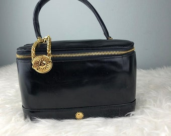 f5c97cf041da RARE   COLLECTION Authentic Gianni Versace Black Leather Cosmetic Bag   Versace  Bag   Vintage Versace Bag   Versace Medusa