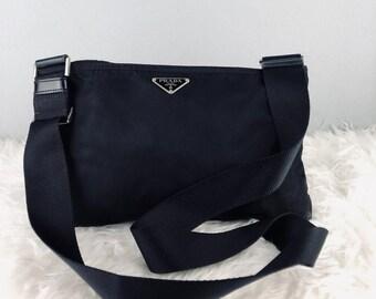 91bd5e76ea7c87 RARE & COLLECTION Authentic Prada Nylon Black Sling Bag / Prada Bag / Vintage  Prada Bag