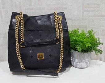 Mcm bag etsy authentic mcm black visetos gold chain shoulder bag mcm black mcm bag gumiabroncs Images