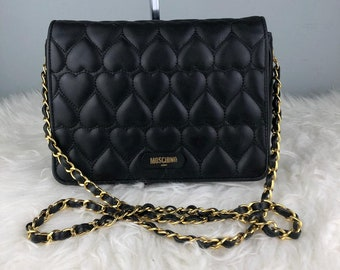 RARE   COLLECTION Authentic Moschino Black Quilted Leather Gold Chian  Shoulder Bag   Moschino Bag   Vintage Moschino Bag aed379d0bd