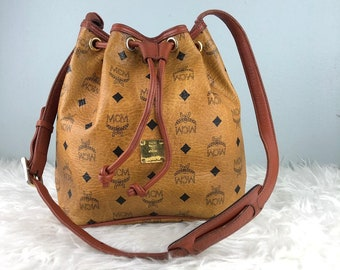 ec9bbb931b24 Rare   Collection Authentic MCM Cognac Visetos Bucket Drawstring Shoulder  Bag   MCM Black   Vintage MCM Bag