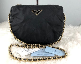 8b3b36bbb7ec RARE   COLLECTION Authentic Prada Nylon Black Quilted Gold Chain Black  Shoulder Bag   Prada Bag   Vintage Prada Bag