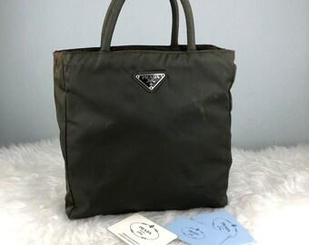 ade5d3e968 ... spain rare collection authentic prada nylon green tote bag prada bag  vintage prada bag 45171 c216c