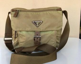 bb269930cedbac ... best price rare collection authentic prada nylon brown crossbody bag  prada bag vintage prada bag 03259