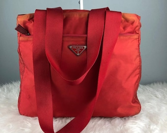 7056fd57ff RARE   COLLECTION Authentic Prada Nylon Red Tote Bag   Prada Bag   Vintage  Prada Bag