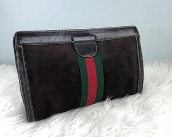 0cc084cf4be RARE   COLLECTION Authentic Gucci Monogram Suede Black GG Clucth Bag   Gucci  Dinner Bag   Vintage Gucci Bag   Vintage Gucci Gang