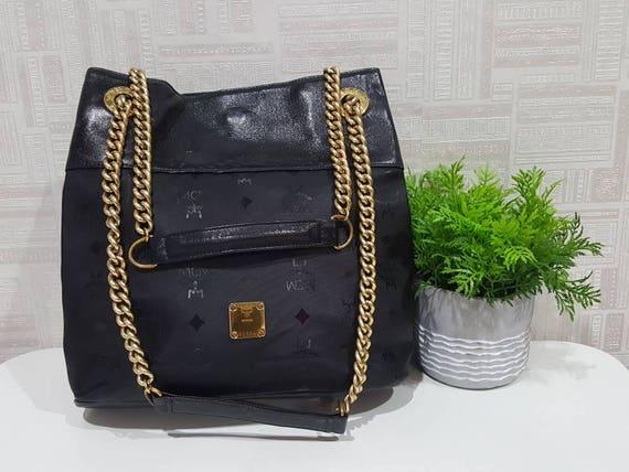 Authentic MCM Black Visetos Gold Chain Shoulder Bag   MCM   Etsy abacf91cc8