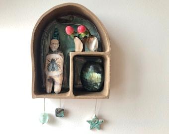 Curio Cabinets, Curio Displays, Ceramic Cabinets, Ceramic Shrines, Ceramic Houses, Alchemy, Found Objects