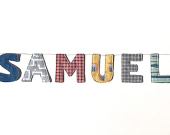 Fabric Name Banner, Name Banner, Fabric Letter Banner, Baby Shower Gift, Nursery Decor, Baby Name Banner