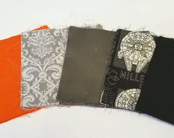 Scruffy Looking Nerf Herder Starwars Quilt Pack Millennium Falcon Nerd Quilting Squares Orange Grey Black White Charm Pack 5 inch Squares 40