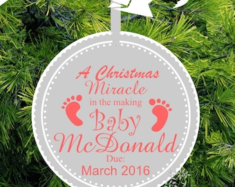 962f7fe4590e Baby Girl A Christmas Miracle - Expecting Ornament - Baby Footprint We re Expecting  Christmas Ornament - ORM5 - lovebirdschristmas