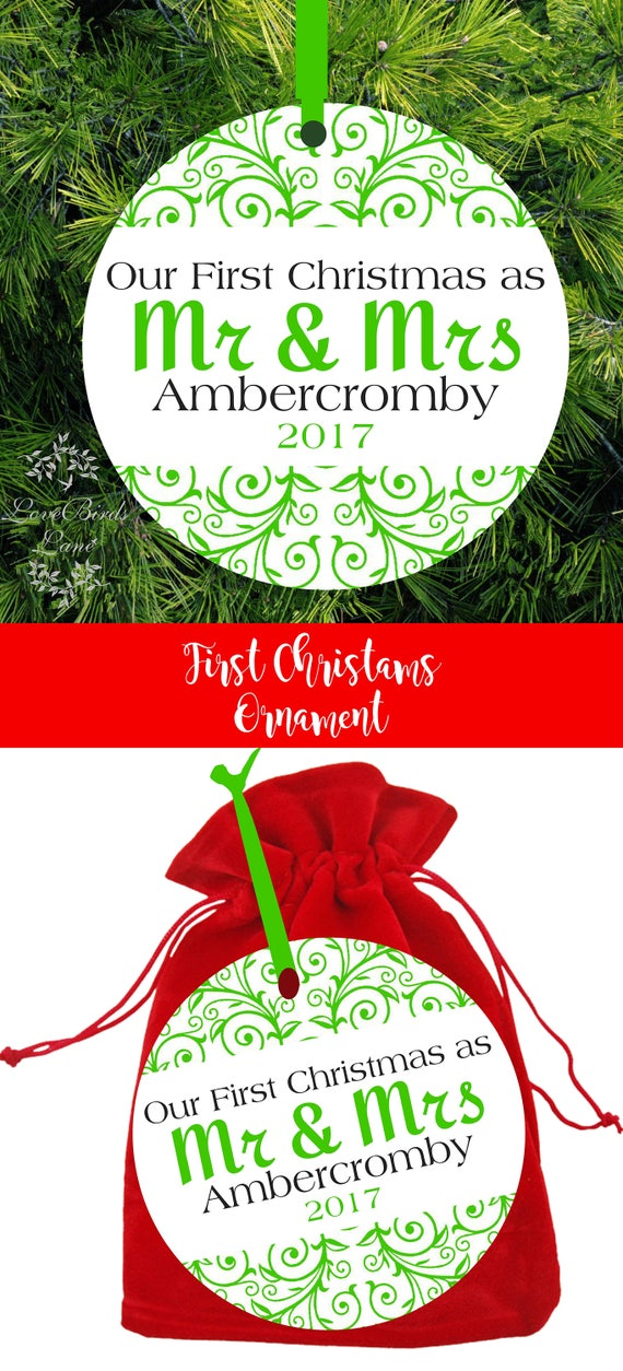 first married christmas ornament our first christmas as mr mrs tree ornament personalized wedding gift - Our First Married Christmas Ornament