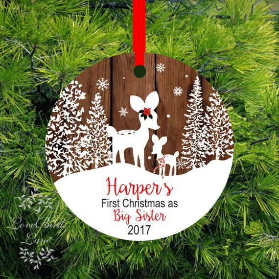 Christmas Ornament Big Sister Little Brother Personalized First Christmas  as Big sister Fawn Ornament Big Sister Gift - Christmas Ornament Big Sister Little Brother Personalized Etsy