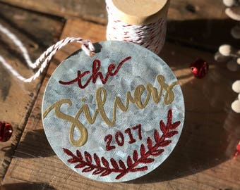 Personalized Holiday Ornament // Metal custom family name ornament // Gold and red embossment // Calligraphy // Ready to gift!