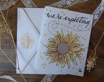 Sunflower & Bee Scratch-Off We're Expecting Announcement card // Gender Reveal Card // It's a Boy - it's a Girl // Illustrated Blank Card //