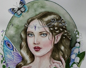 Violet fairy fantasy watercolour painting
