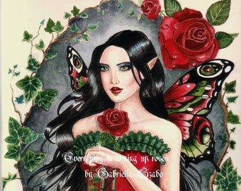 Gothic red rose fairy watercolour painting