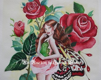 Red rose fairy watercolour painting