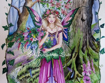 Flora forest fairy watercolour painting
