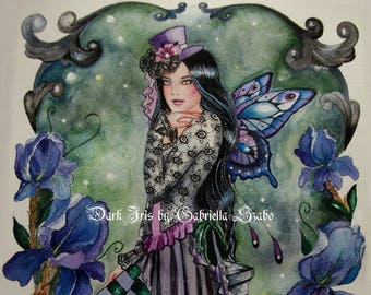 Dark iris gothic steampunk fairy watercolour painting