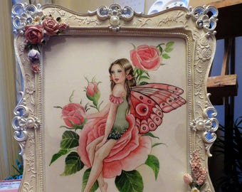 Peach rose shabby chic fairy watercolour painting