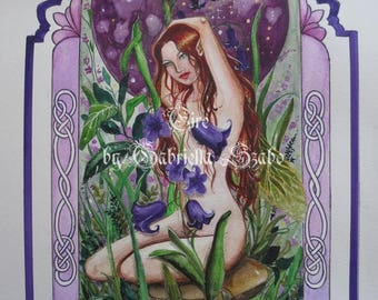 Eire Bluebell fairy celtic watercolour painting