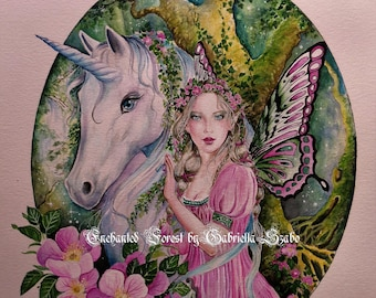 Enchanted forest fairy unicorn watercolour painting