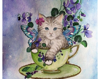 Violet fairy kitten watercolour painting