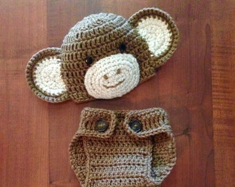 Monkey Outfit, Diaper Cover and Hat, Newborn Monkey, 0-3 months & NB, Monkey Hat
