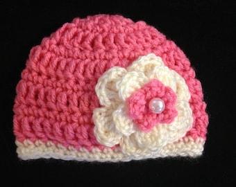 Crochet hat, Baby hat, Hat with flower, Flower hat, baby beanie