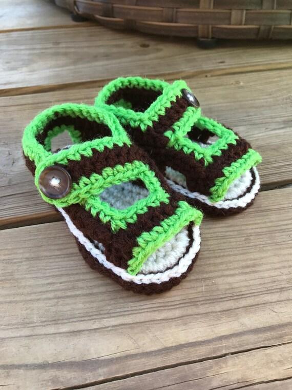 fe23476260fc6 Sandals, baby sandals, child sandals, crochet sandals, unisex,  customizable, button sandals