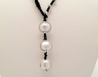 Blown glass beads with silver foil, hand crocheted, beaded necklace