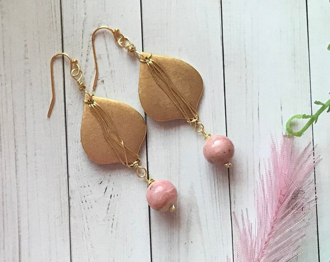 Moroccan style drop and pink Peruvian opal