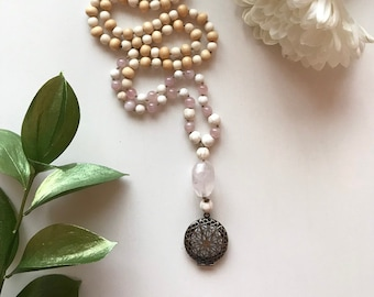 108 bead meditation mala, diffuser necklace hand knotted with rose quartz guru bead and brass diffuser for essential oils