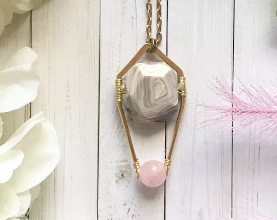 Modern bohemian, luxe boho, Botswana agate pendant necklace with rose quartz bead. 24k gold plated brass. OOAK