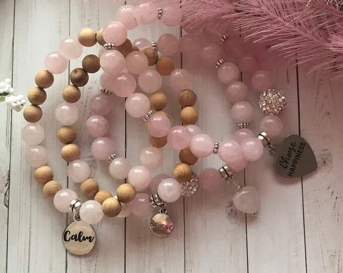 Rose quartz mantra charm bracelet