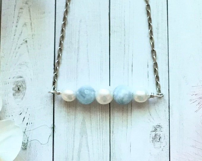 Pearls and aquamarine necklace