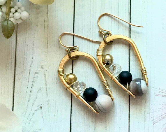 Modern luxe boho long hoop earrings with Botswana agate, onyx, crystal and brass beds. 24k gold plated brass hoop. OOAK