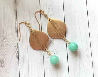 Moroccan lantern, dangle earrings, green chalcedony