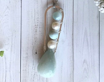 Modern bohemian luxe necklace, large blue quartz tear drop with pearls and larimar beads. Fine silver plated brass, nickel free. OOAK