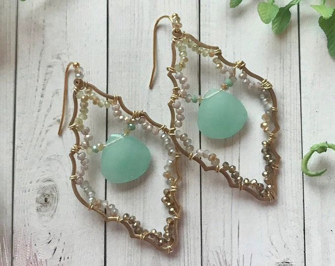 Crystal earrings with aqua chalcedony