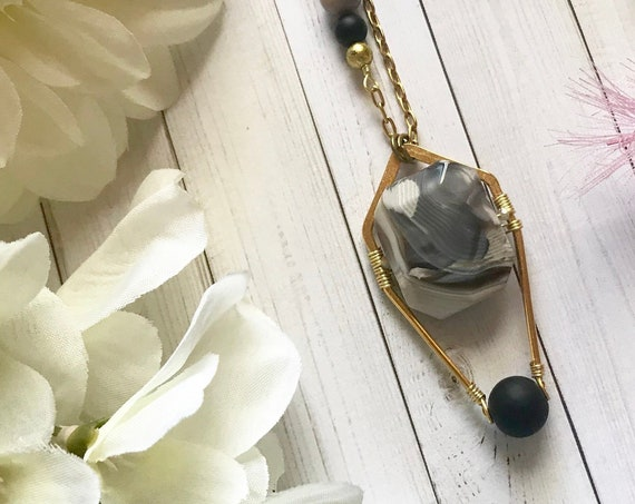 Modern bohemian, luxe boho, Botswana agate pendant necklace with onyx bead. 24k gold plated brass. OOAK