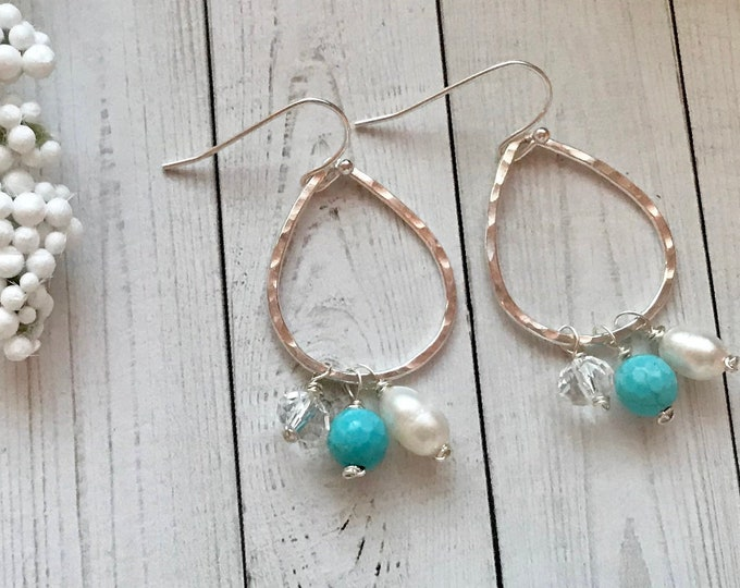 Sterling silver drop earrings with pearls, quartz crystal and turquoise