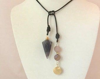Amethyst crystal pendulum pendant, luxe boho necklace with leather and brass elements. Crown chakra, energy healing, lariat necklace.