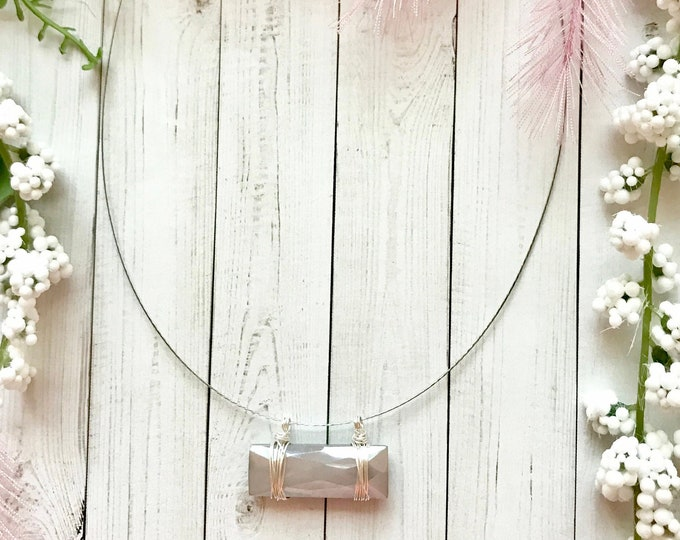 Moonstone pendant, minimalist necklace
